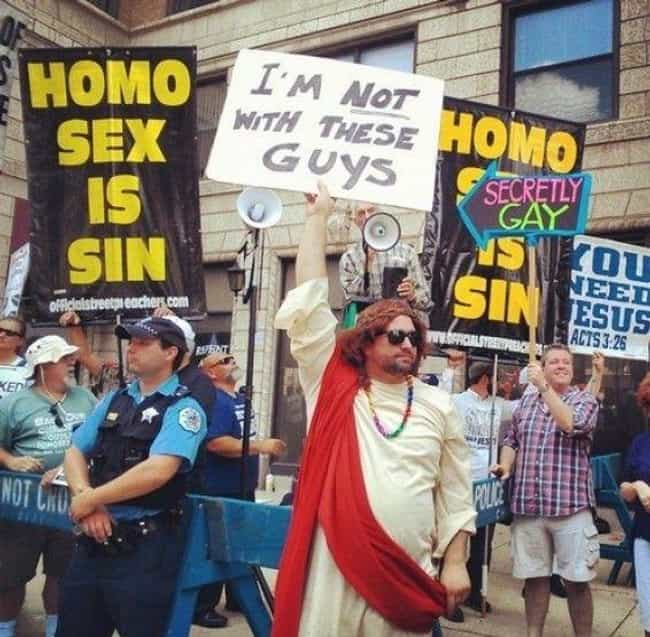 Jesus Clarifies His Stan... is listed (or ranked) 1 on the list The Greatest Signs from Pride Month