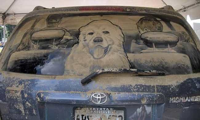 This Precious Pooch Is R... is listed (or ranked) 2 on the list The Funniest Things Ever Drawn on Dirty Cars