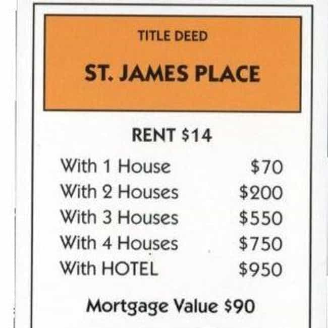 St. James Place is listed (or ranked) 2 on the list All The Monopoly Properties, Ranked