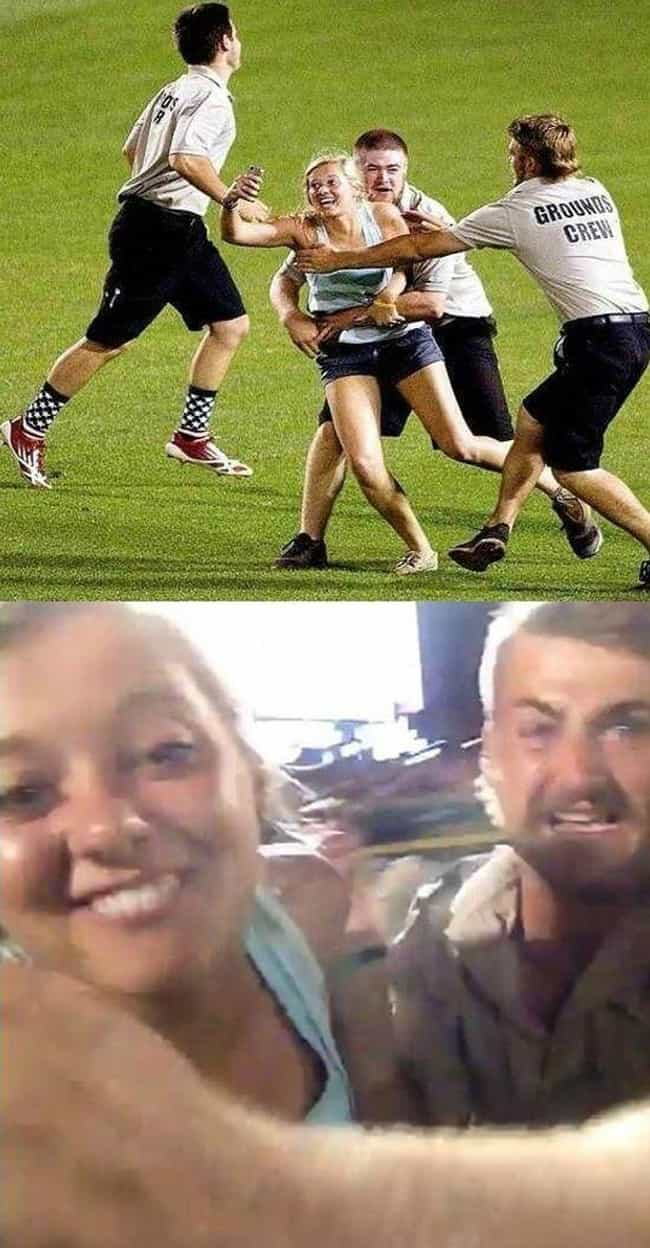 Playing the Field is listed (or ranked) 4 on the list The 24 Funniest Moments in Selfie History