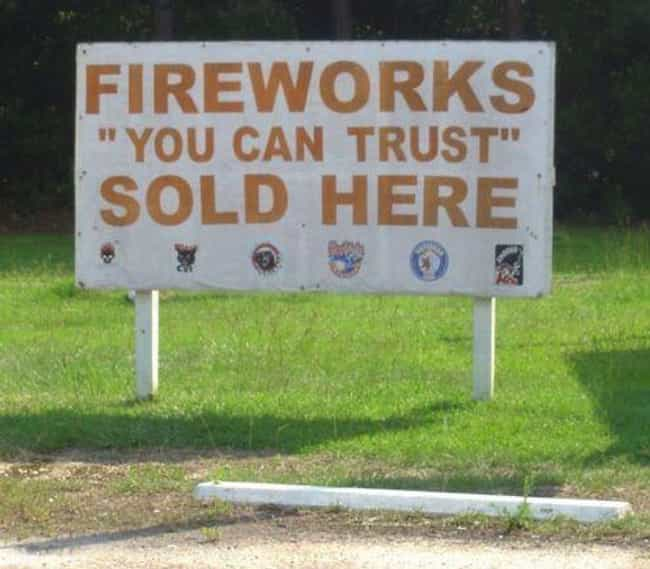 Questionable Quotation Marks is listed (or ranked) 3 on the list 20 Questionable Fireworks Advertisements