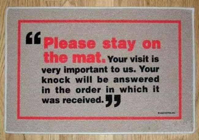 The Verizon Wireless Mat is listed (or ranked) 4 on the list 30 Funny Doormats Your Houseguests Will Definitely Laugh At