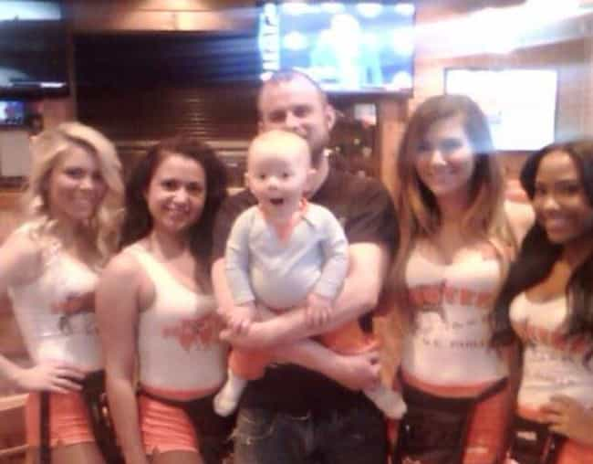 First Time at Hooters is listed (or ranked) 3 on the list 25 Awkward Photos of Guys with Hooters Waitresses That Are Too Funny