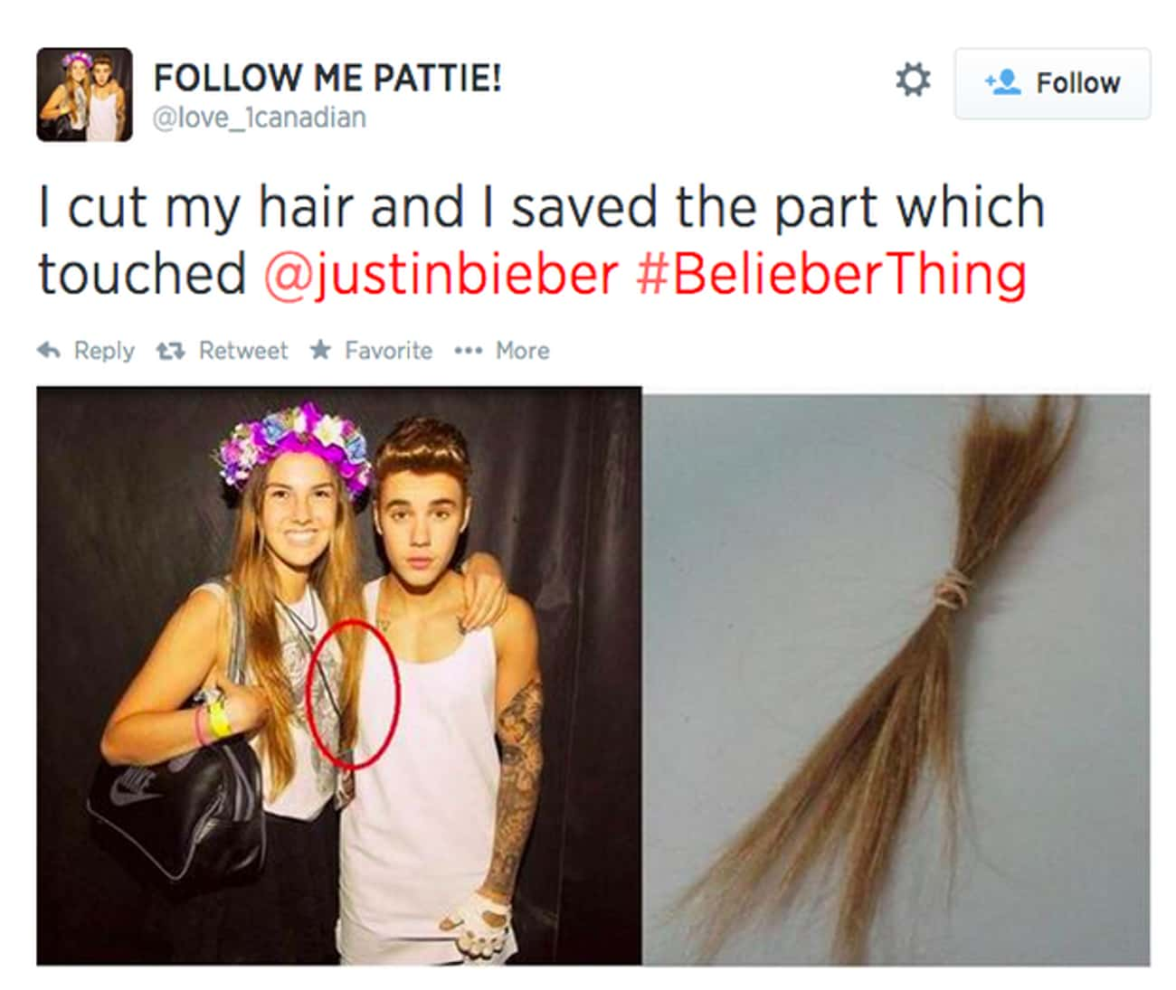 Hair Of The Bieber is listed (or ranked) 3 on the list Photos That Prove Justin Bieber Fans Are Insane