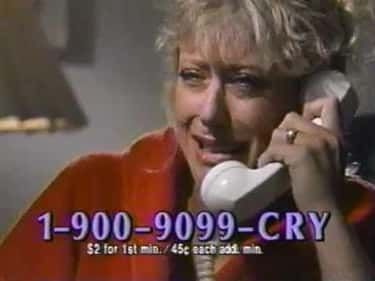 The Crying Hotline is listed (or ranked) 2 on the list 1-900 Hotlines You Never Knew You Needed