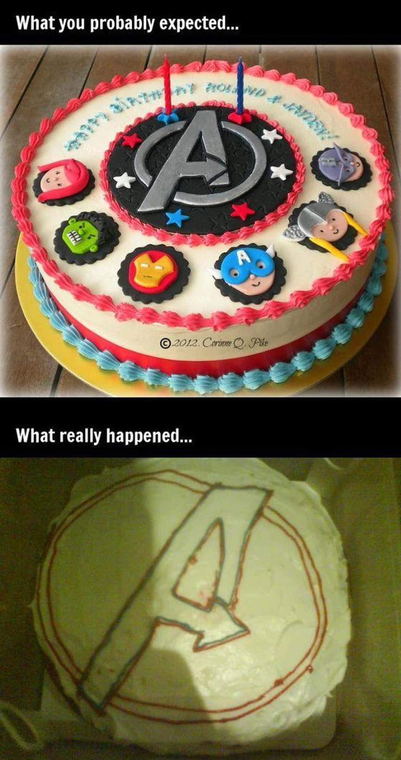 Avenge This Cake is listed (or ranked) 2 on the list Awful Comic Book Cake FAILs That'll Make You Hulk Smash