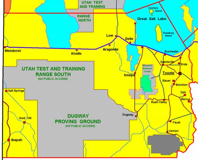 Dugway Proving Ground is listed (or ranked) 4 on the list The Most Mysterious Military Facilities in the United States