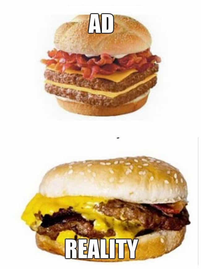 Wendy's Bacon Double Che... is listed (or ranked) 1 on the list Fast Food Menu Items in Real Life That Look Nothing Like the Ads
