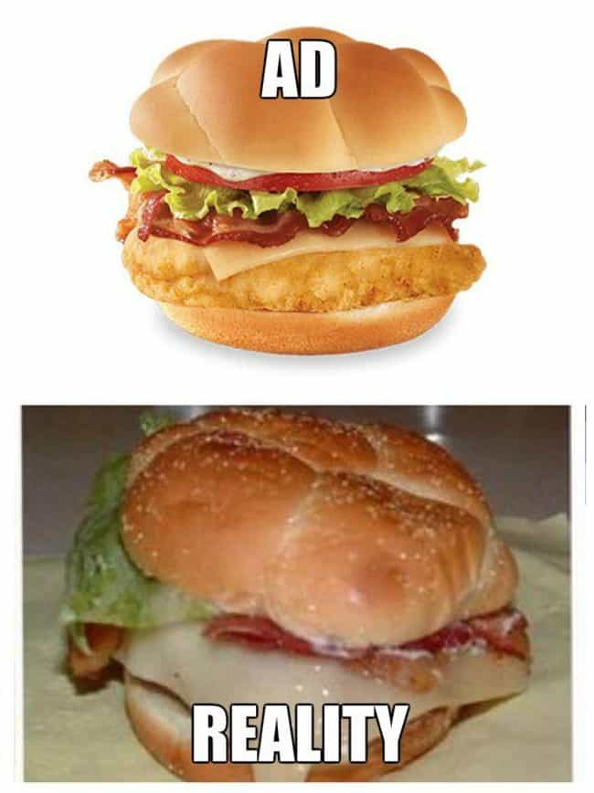 Wendy's Chicken Club: Th... is listed (or ranked) 7 on the list Fast Food Menu Items in Real Life That Look Nothing Like the Ads