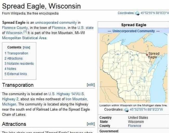 Spread Eagle, Wisconsin is listed (or ranked) 3 on the list The Dirtiest City And Town Names In The World