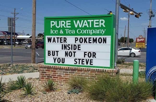Sorry, Steve is listed (or ranked) 3 on the list Hilarious Pokemon Go Signs