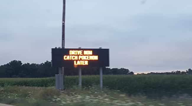 Buckle Up for Safety is listed (or ranked) 4 on the list Hilarious Pokemon Go Signs