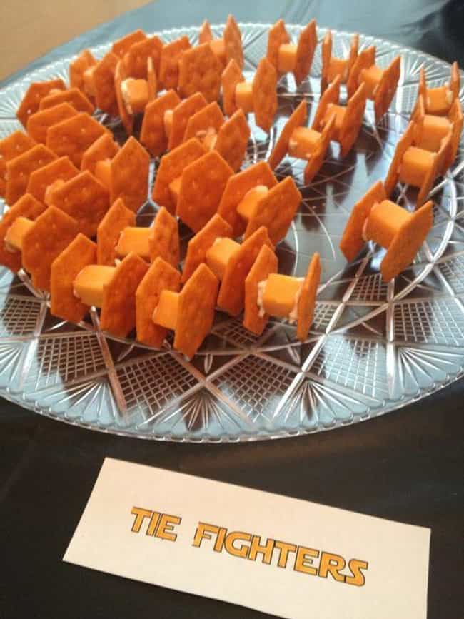 Cheese Tie Fighters is listed (or ranked) 1 on the list Hilarious Snack Trays for Your Next Movie Night