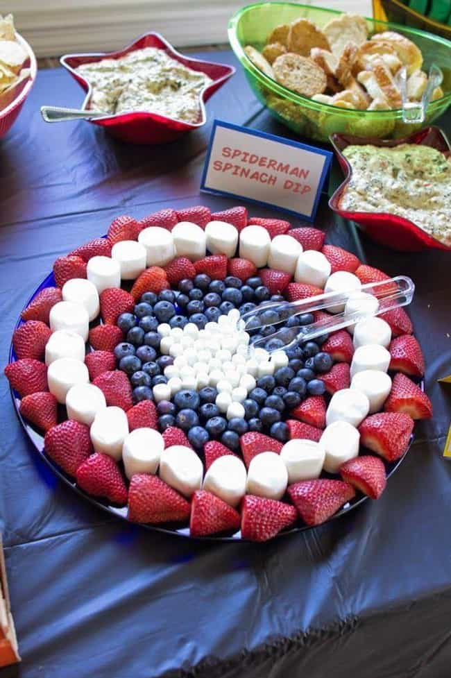Captain America Fruit Tray is listed (or ranked) 4 on the list Hilarious Snack Trays for Your Next Movie Night