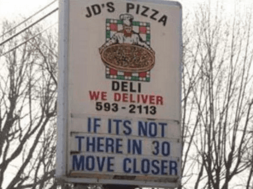 Image of Random Funniest Pizza Signs in All Land