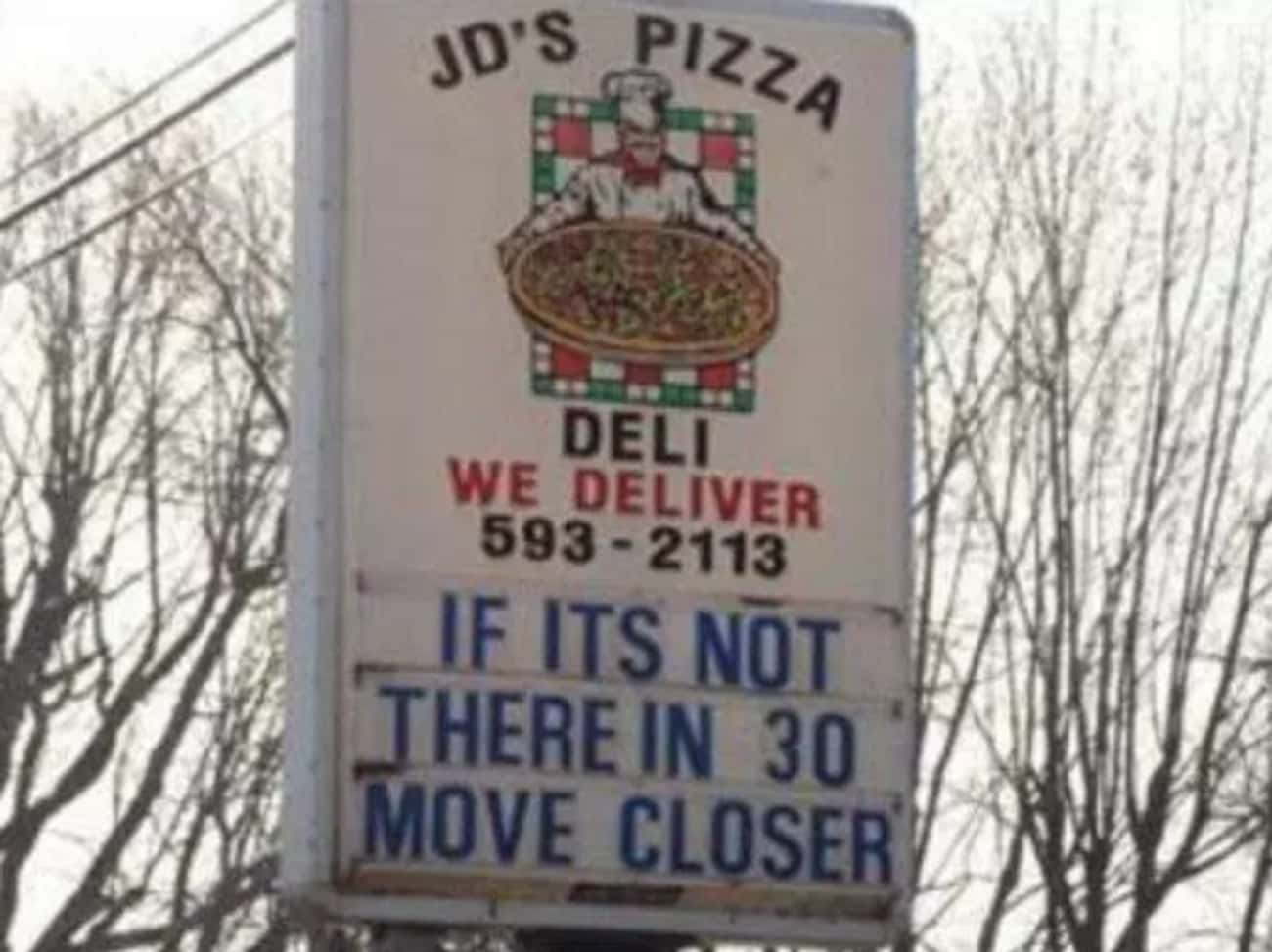 Your Move is listed (or ranked) 1 on the list The Funniest Pizza Signs in All the Land