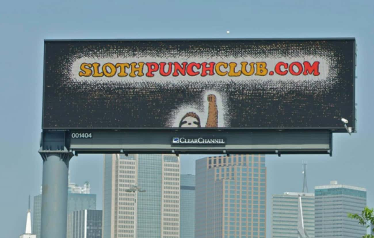 The First Rule of Sloth Club is listed (or ranked) 3 on the list Funny Billboards Spotted On The Open Road