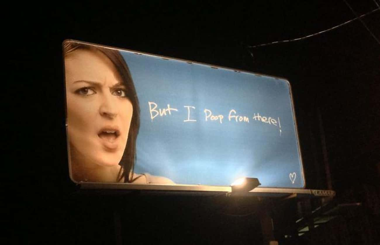 What the Sh*t! is listed (or ranked) 2 on the list Funny Billboards Spotted On The Open Road