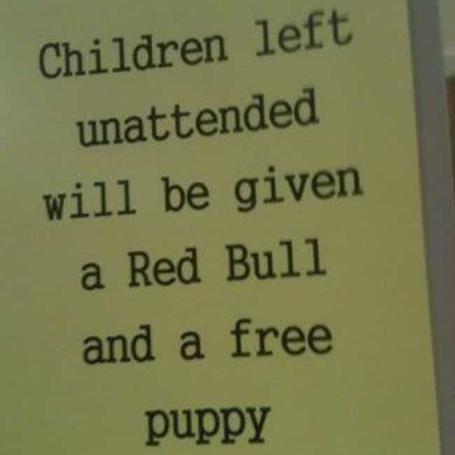 Red Bull Gives You Puppies is listed (or ranked) 2 on the list Funny Doctor's Office Signs That Prove Laughter Is the Best Medicine
