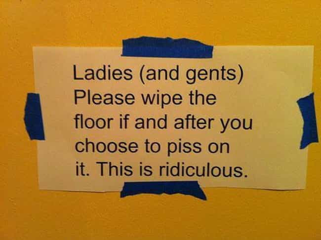 Hit and Piss is listed (or ranked) 2 on the list 22 Funny Bathroom Etiquette Signs That Shouldn't Need to Exist