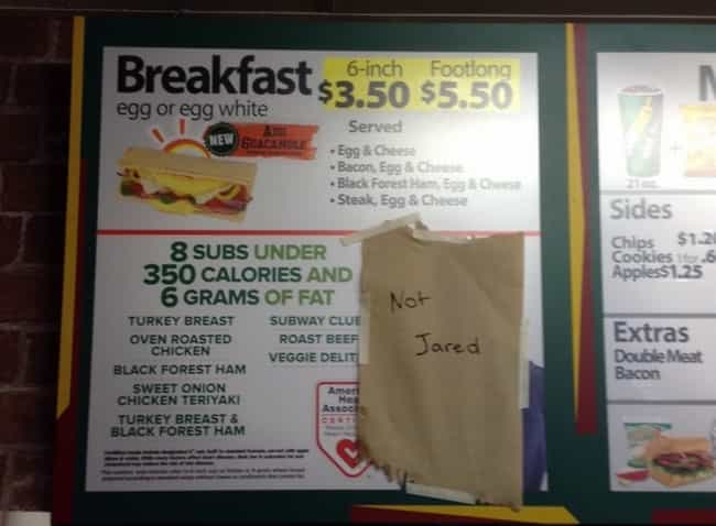 Not Jared is listed (or ranked) 3 on the list Meanwhile at Your Local Subway...