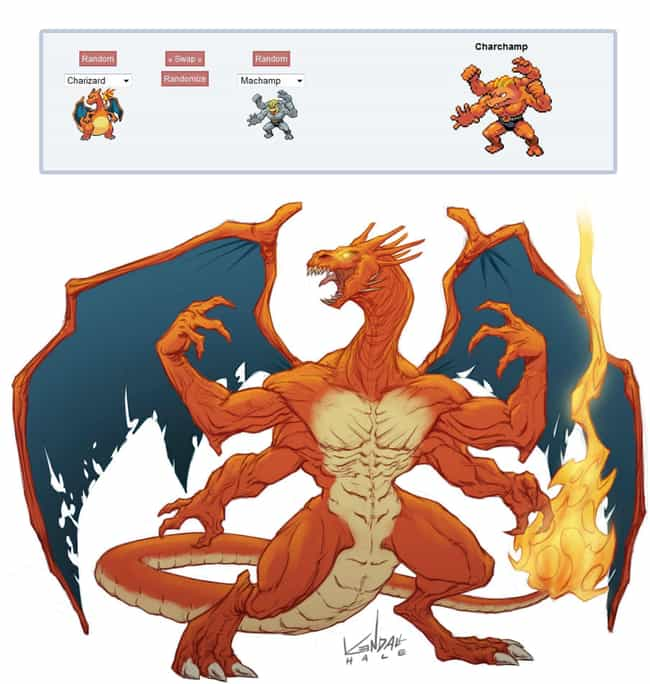 Charchamp (Charizard + Machamp... is listed (or ranked) 3 on the list Epic Pokemon Fusions That Are Too Weird For Words