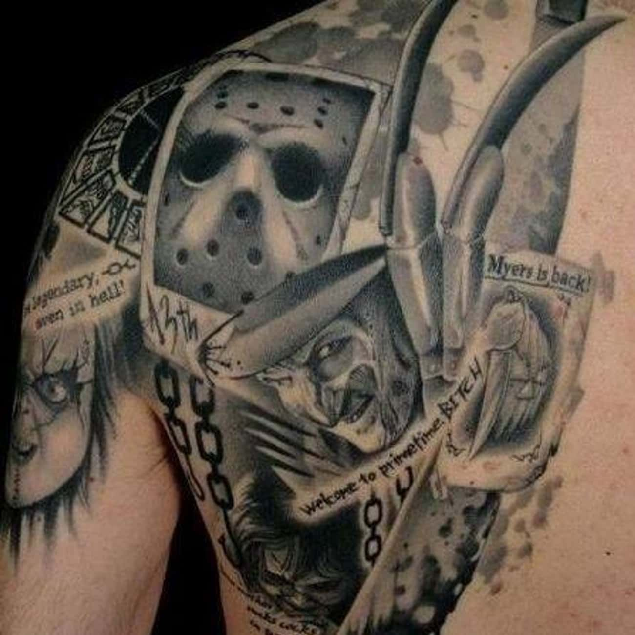 The Monster Mash is listed (or ranked) 2 on the list Frightfully Ghoulish Horror Movie Tattoos