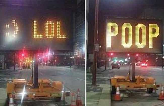 No, You Grow Up! is listed (or ranked) 2 on the list Inappropriate Construction and Traffic Signs That'll Make You Look Twice