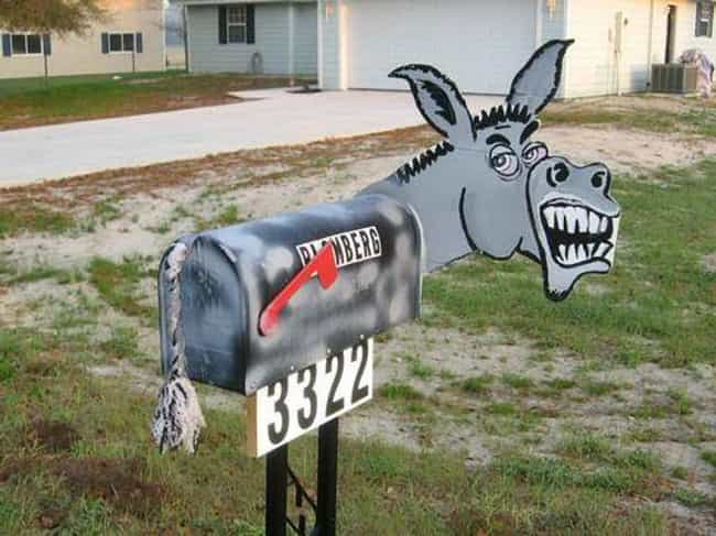 Angry Donkey is listed (or ranked) 2 on the list Inappropriate Mailboxes That Could Only Happen in America