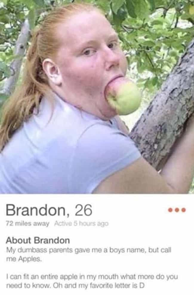 """D is for """"Daaaamn"""" is listed (or ranked) 3 on the list Hilariously Bad WTF Tinder Profiles"""