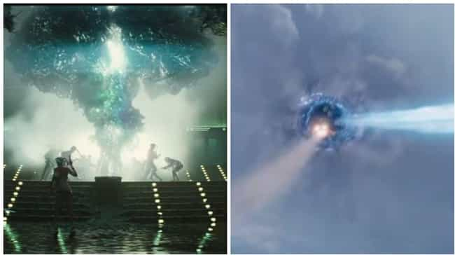 The Giant Sky Portal is listed (or ranked) 1 on the list Ways Suicide Squad Ends Up Being Just Like a Marvel Movie
