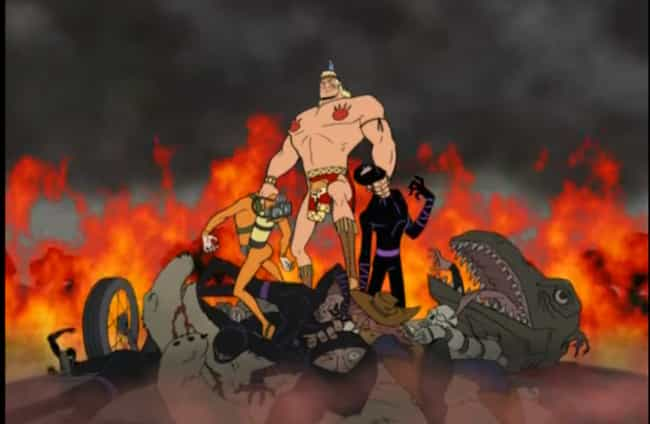 The Battle of Brock's Dreams is listed (or ranked) 1 on the list Brock Samson's Most Gloriously Violent Moments on Venture Bros.