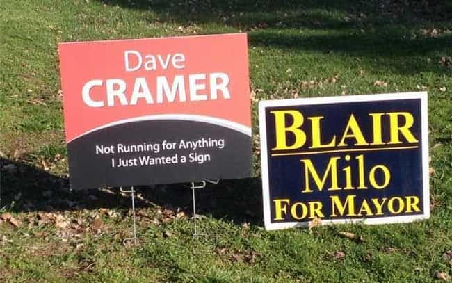 A Sign from Below is listed (or ranked) 3 on the list Funny Voting Signs That Might Get You To Actually Vote