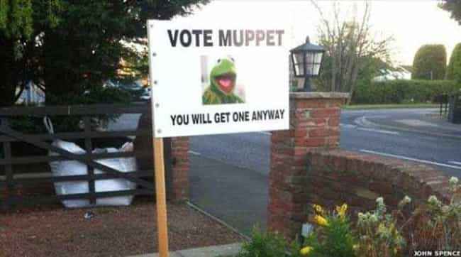 The Muppets Take Washing... is listed (or ranked) 4 on the list Funny Voting Signs That Might Get You To Actually Vote
