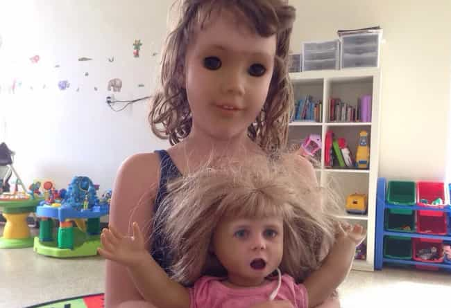 Dolly Dearest is listed (or ranked) 4 on the list 24 Downright Terrifying Doll Face Swaps