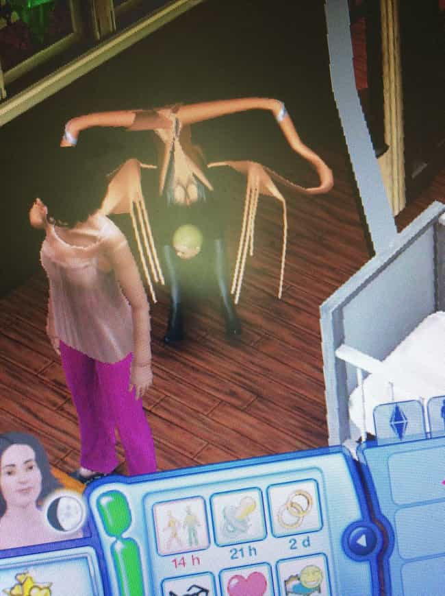 DON'T. TURN. AROUND. is listed (or ranked) 1 on the list These Glitches From The Sims Prove That Reality Is An Endless Sea Of Madness