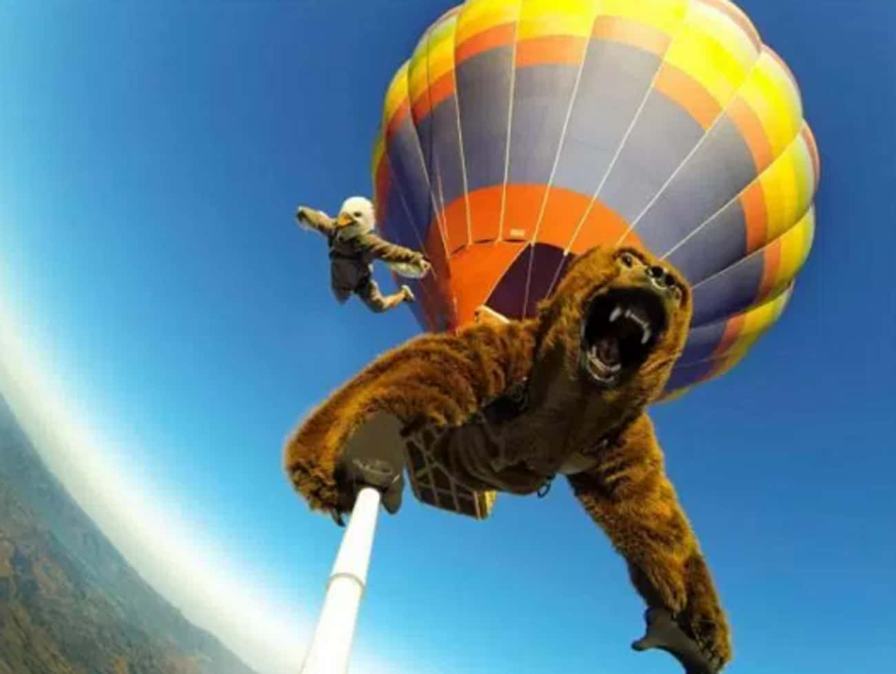 Skydiving Selfie Stick: Bear E is listed (or ranked) 4 on the list The 16 Funniest Photos in Skydiving History