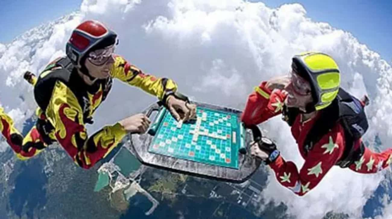 Skydiving Scrabble is listed (or ranked) 3 on the list The 16 Funniest Photos in Skydiving History