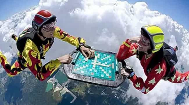 Skydiving Scrabble is listed (or ranked) 1 on the list The 16 Funniest Photos in Skydiving History