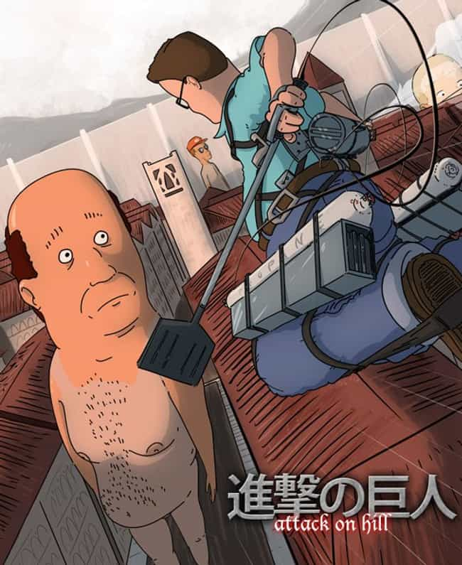 Attack on Bill-tan is listed (or ranked) 1 on the list 23 Bwah-some Pieces of King of the Hill Anime Mashup Art