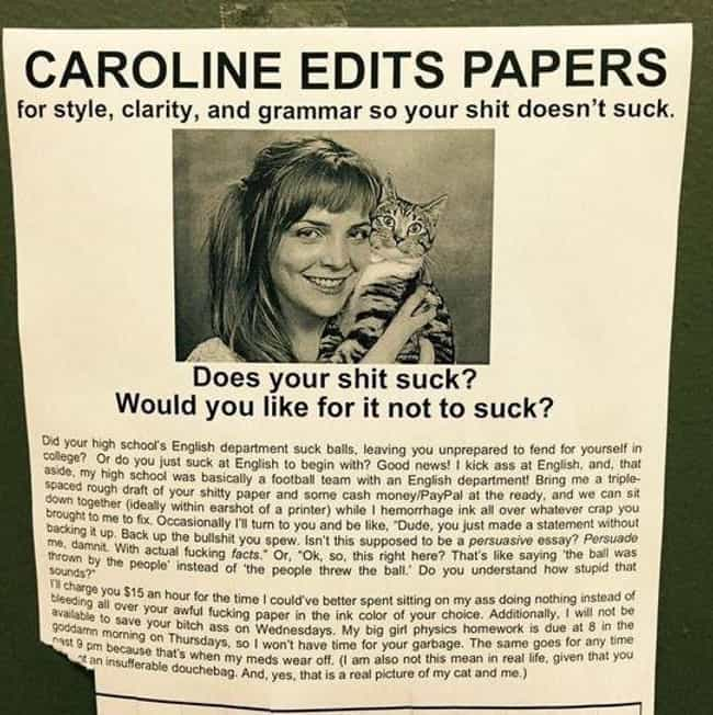 Sweet Caroline is listed (or ranked) 3 on the list 22 Hilarious Fliers Found on College Campuses