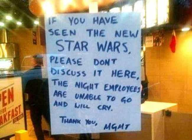 The Taco Awakens is listed (or ranked) 3 on the list The Funniest Taco Bell Signs Ever
