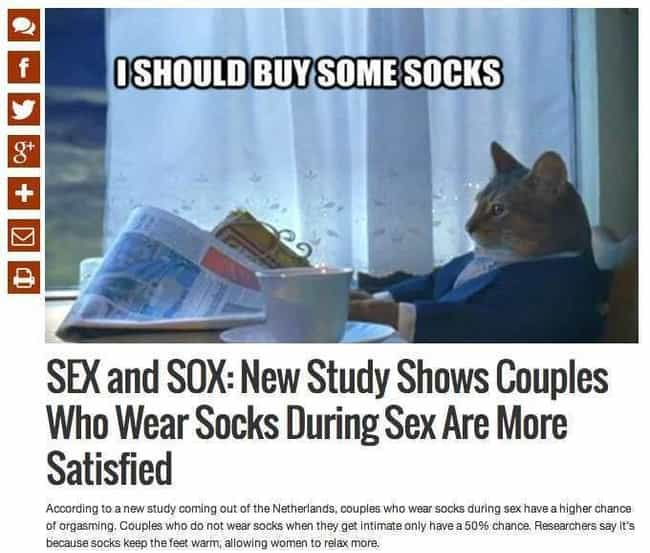 """Sock It to Me is listed (or ranked) 1 on the list 20 Ridiculous """"A New Study Shows"""" News Headlines"""
