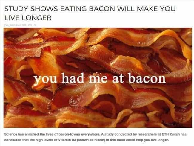 """Live Bacon or Die Hard is listed (or ranked) 2 on the list 20 Ridiculous """"A New Study Shows"""" News Headlines"""