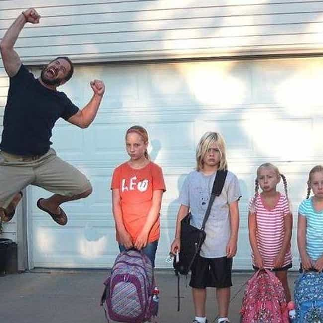 World's Best Dad is listed (or ranked) 1 on the list The Greatest Back to School Celebration Photos by Parents