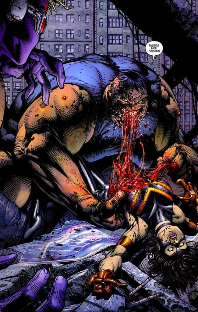 The Blob Crunches on Wasp is listed (or ranked) 1 on the list Insanely Gory Moments in Marvel Comic History You Can't Unsee