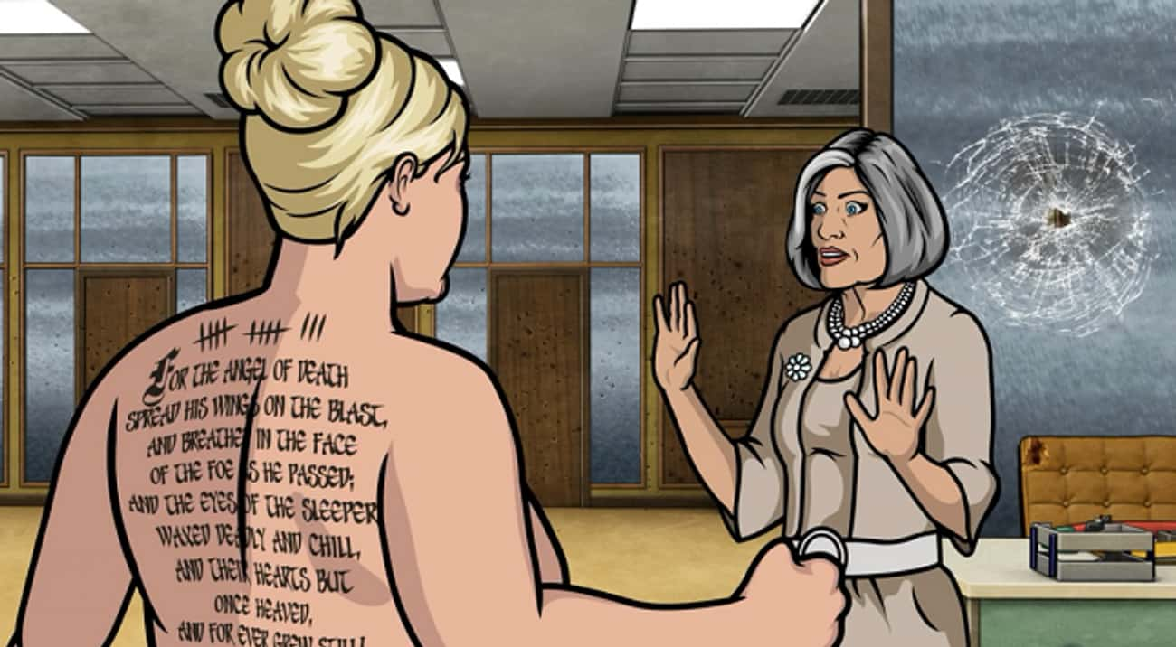 Pam's Tattoo Tribute to Lord B is listed (or ranked) 1 on the list Sterling Archer's Smartest Literary References, Explained