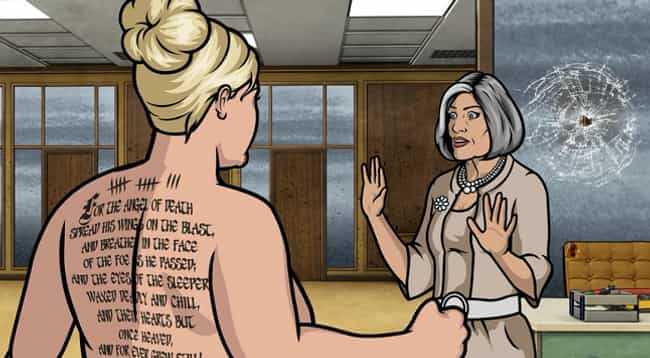 Pam's Tattoo Tribute to ... is listed (or ranked) 1 on the list Sterling Archer's Smartest Literary References, Explained