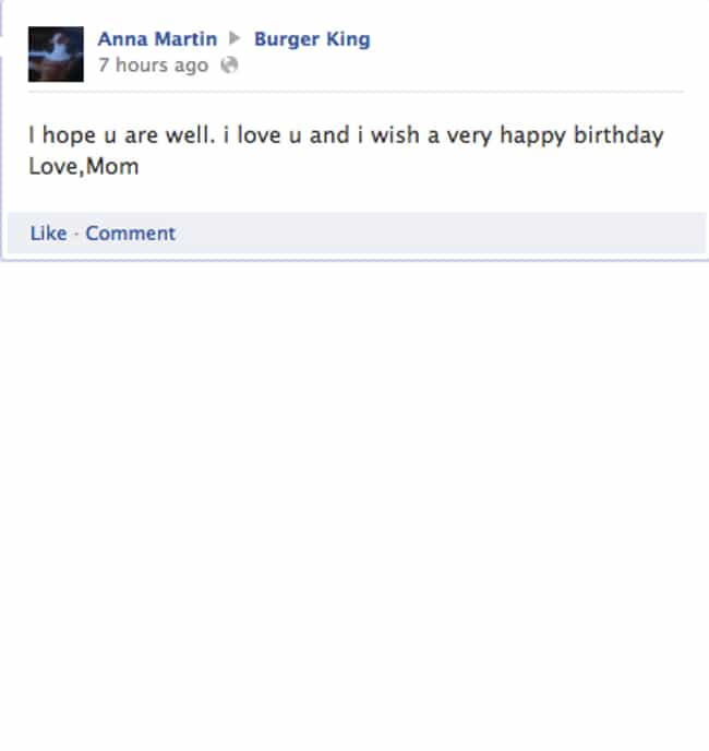Burger King's Mom Embarr... is listed (or ranked) 3 on the list 28 Times Old People Wrote on a Restaurant's Facebook Page and It Was Hilarious