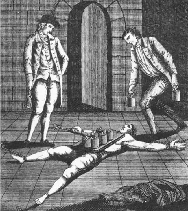 Pressing is listed (or ranked) 1 on the list Gruesome Ways People Were Executed In The Time Of Henry VIII